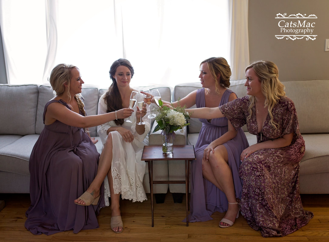 bride bridesmaids wine fun