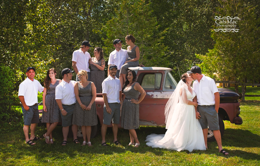 bridal party formals old truck